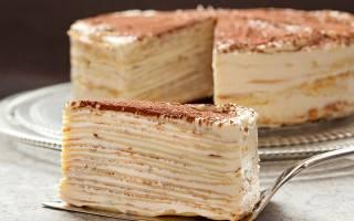 Блинный торт с кремом из сгущенки и сметаны
