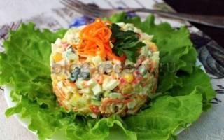 Салат с крабовыми палочками кукурузой и корейской морковью